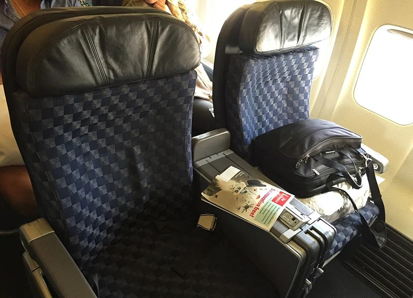 The seat is a standard domestic first class recliner seat, but at least you get the international-standard pillow and duvet.