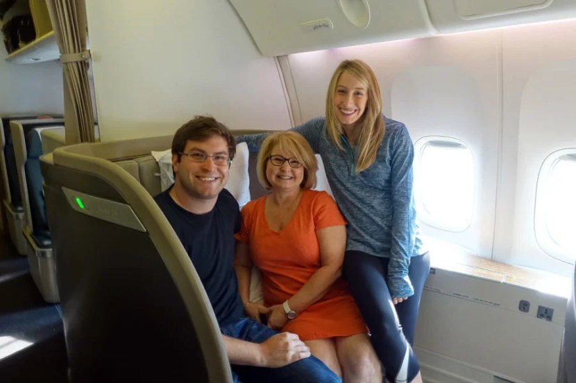 We managed to get three of the six first-class seats on our flight.