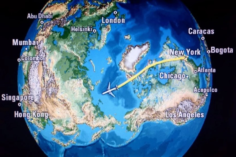 The flight brought us over the North Pole.