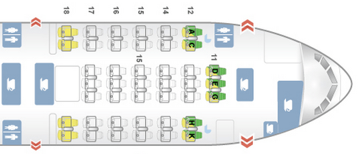 Regional business class seat map.