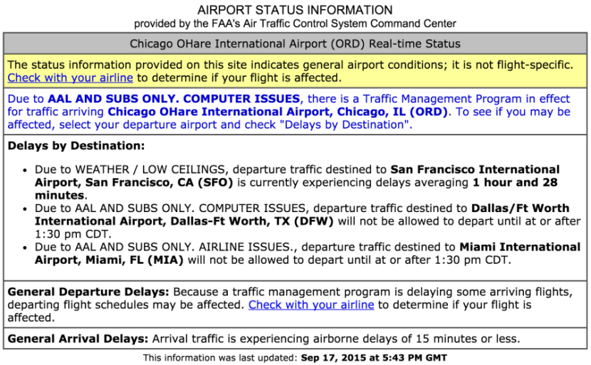 The current FAA status report for ORD airport.
