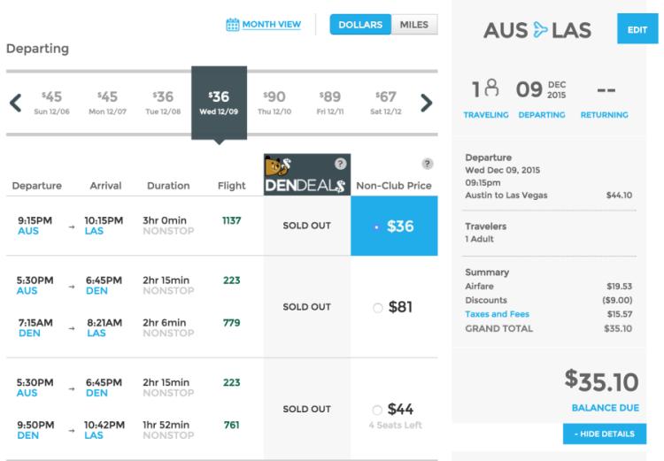 Austin (AUS) to Las Vegas (LAS) for $35 one-way.