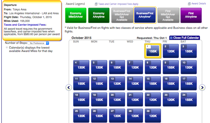 Flying business on AA operated flights to Asia is going to cost 120k-175k miles each way.