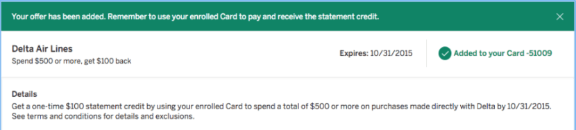 $100 back after spending $500 with Delta.