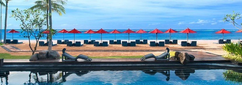 St Regis Bali pool and beach banner