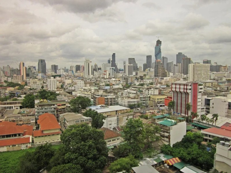 A view of Bangkok from the elevator area on the 14th floor
