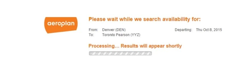 Expect to see this a lot when using the Aeroplan site.