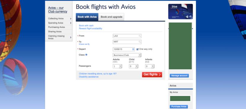 BA Book with Avios