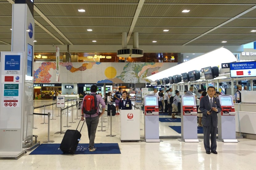 JAL's business-class check-in area at NRT.