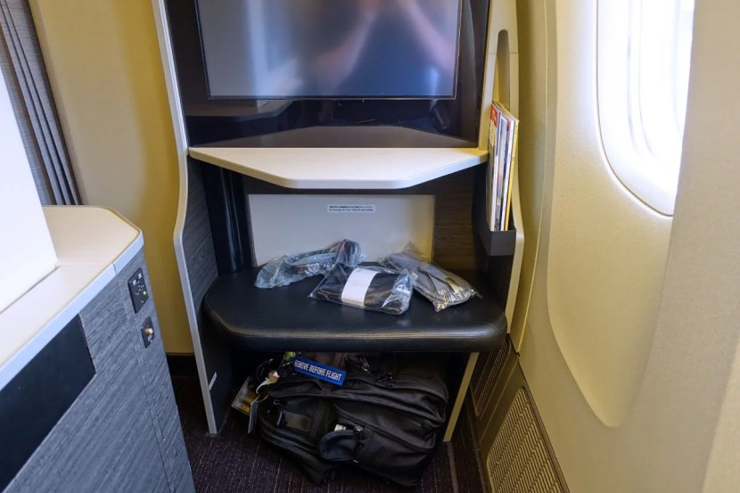 There was a Tumi amenity kit waiting at each seat.