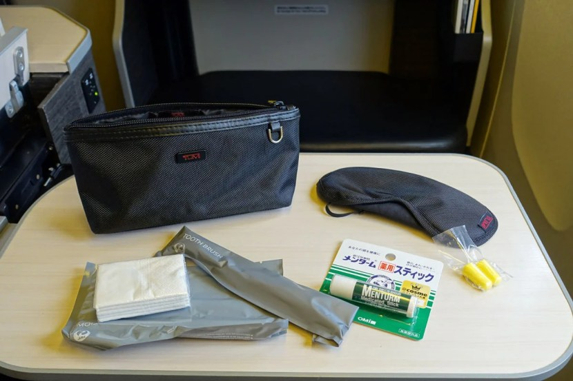 The amenity kit was pretty basic, though there was a nice Tumi eye mask inside.