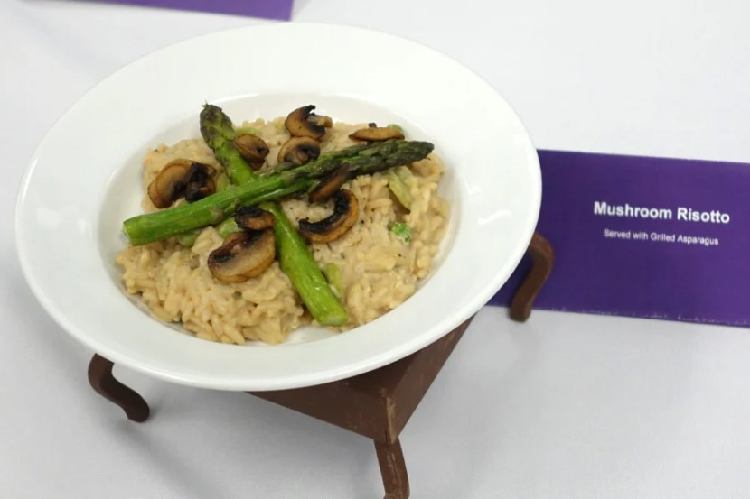 Mushroom risotto with grilled asparagus.