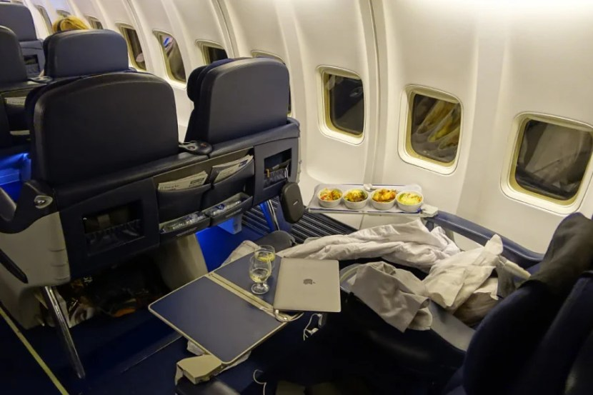 Seat 11F with all four entrees.