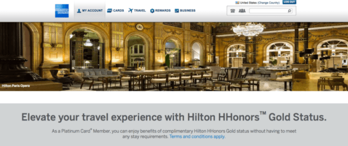 Amex Platinum offers HHonors Gold status