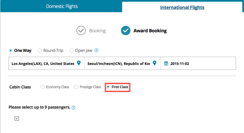 Korean Air award search