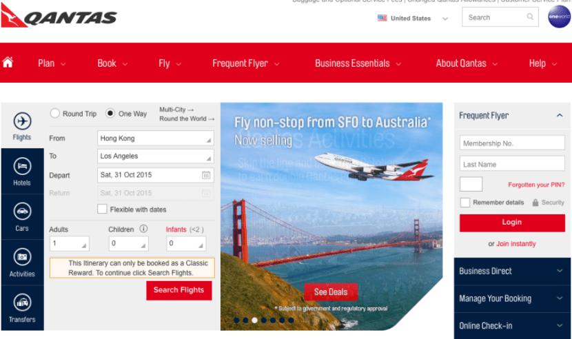 Qantas home