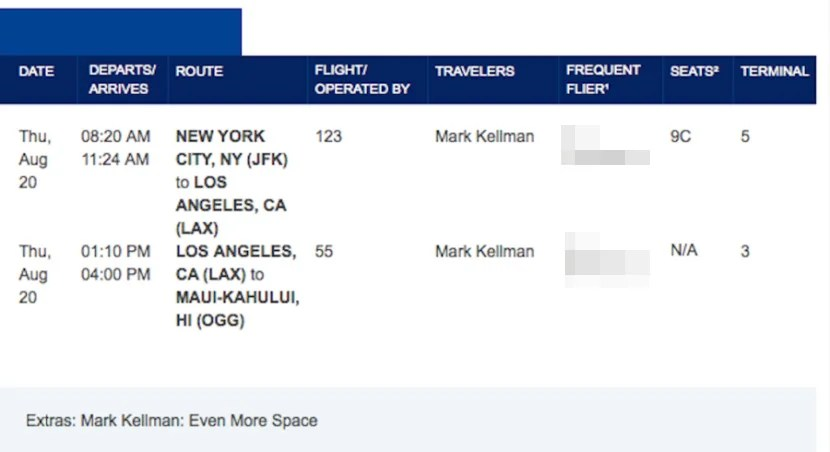 The itinerary I booked to fly from JFK to Maui on a combo of JetBlue and Hawaiian Airlines.