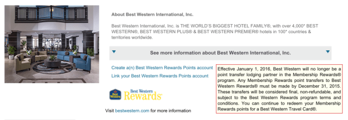 There are less than two months left to transfer Membership Rewards to Best Western.