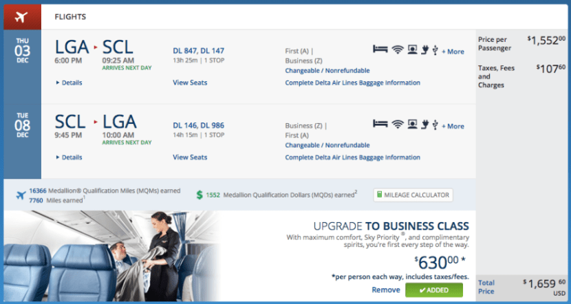 New York (LGA) to Santiago (SCL) for $1,659 in business on Delta.