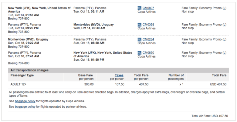 New York (JFK) to Montevideo (MVD) for $408 on Copa.