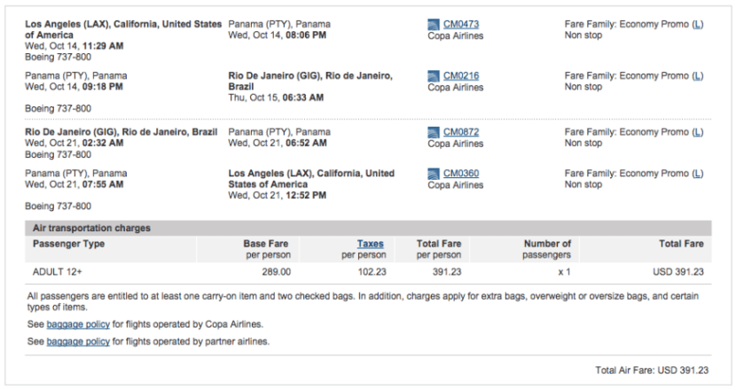 Los Angeles (LAX) to Rio de Janeiro (GIG) for $391 on Copa.