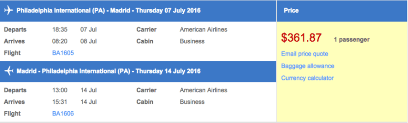 Philadelphia (PHL) to Madrid (MAD) for $362 round-trip!