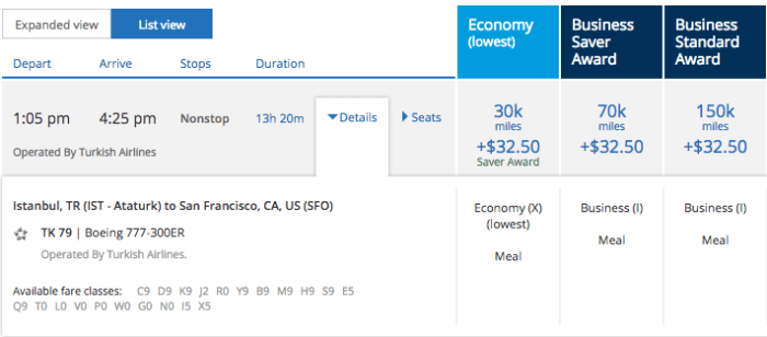 Five business seats for Istanbul to San Francisco in July.