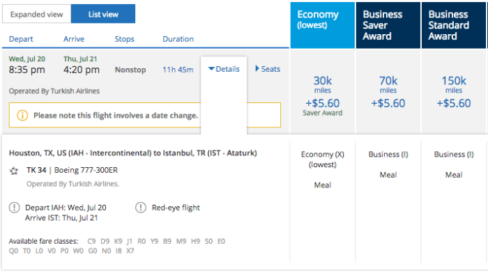 Eight business seats in July for Houston to Istanbul.