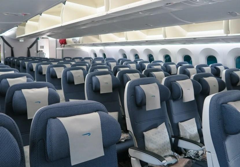 3-3-3 layout in the British Airways 787 World Traveller Economy cabin.