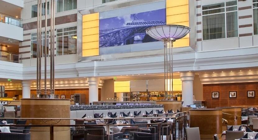 Lobby of the Hilton Paris Charles de Gaulle Airport.