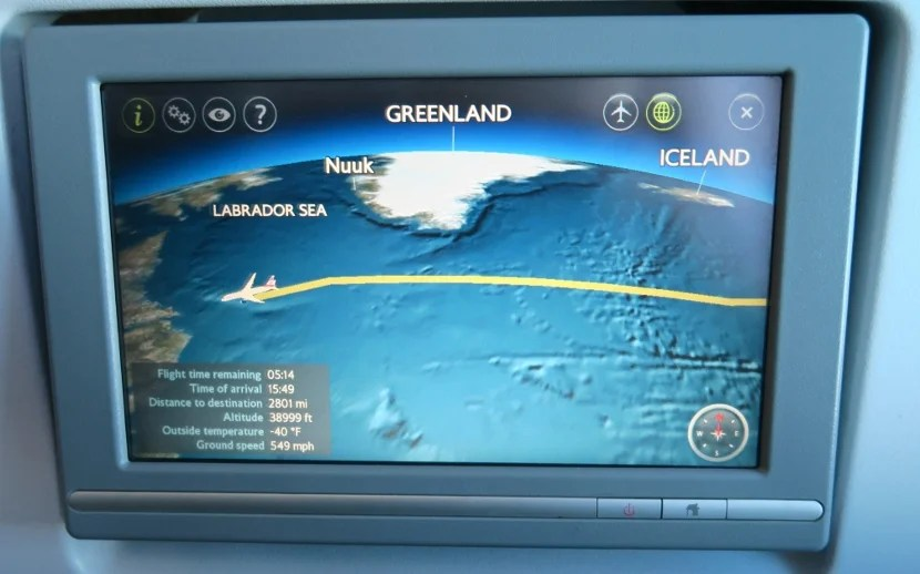 The touch screen entertainment system had a nice flight tracking app.