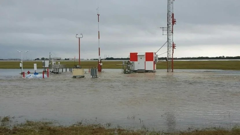 Austin Airport's weather-monitoring station shut down due to flooding. Photo courtesy of National Weather Service San Antonio.