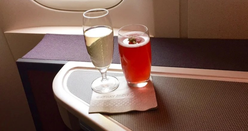 I started with a pre-departure beverage...or two.