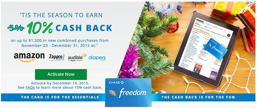 Earn 10% cash-back with the Freedom card on Amazon this holiday season.