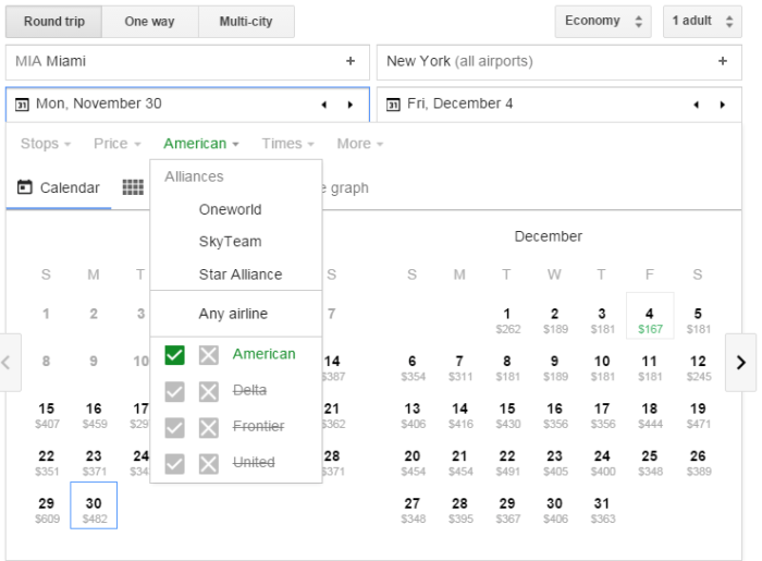 Google Flights American-only