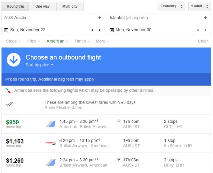 Google Flights search AUS-IST