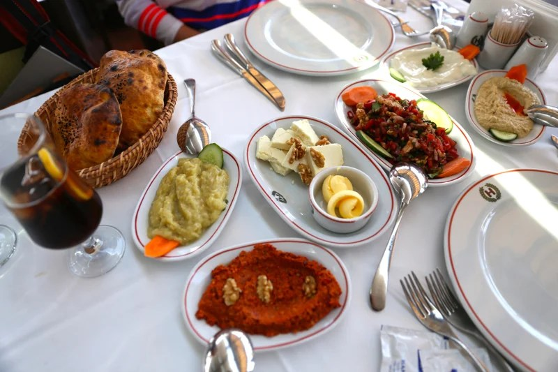 An array of Turkish appetizers at Hamdi Restaurant