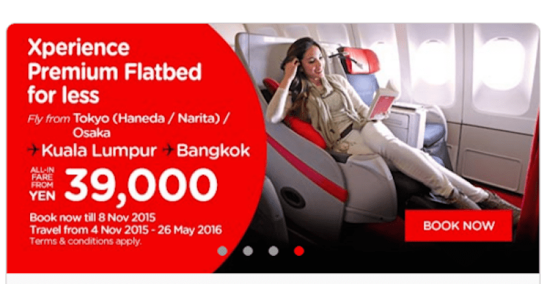 Take advantage of the current promotion to lock in Premium Flatbed without having to bid. Photo courtesy AirAsia.com.