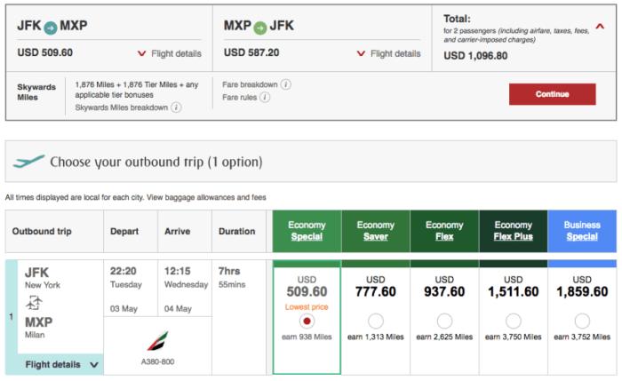 New York (JFK)-Milan (MXP) on Emirates in economy for $549 per person.
