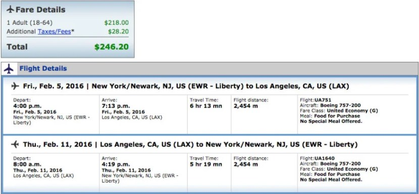 Newark (EWR) to Los Angeles (LAX) for $246 Round-Trip on United.