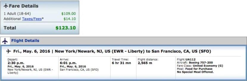 San Francisco (SFO) to Newark (EWR) for $123 One-Way on United.