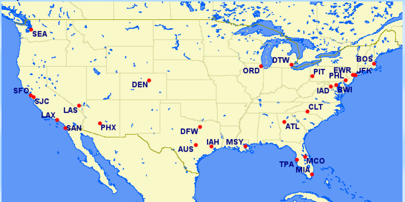 British Airways airports in USA