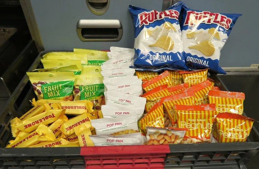 A well-stocked snack basket was available in the back galley for snacky passengers.