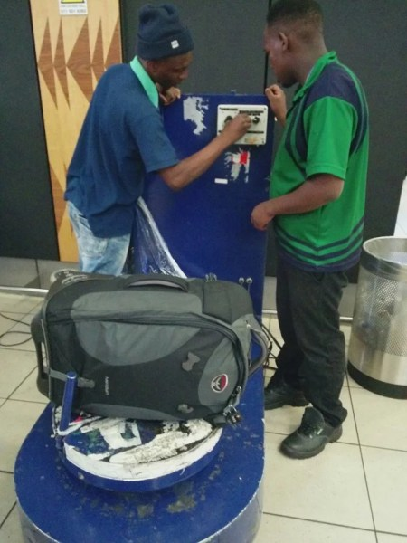 My bag about to be spun and wrapped in plastic at JNB airport.