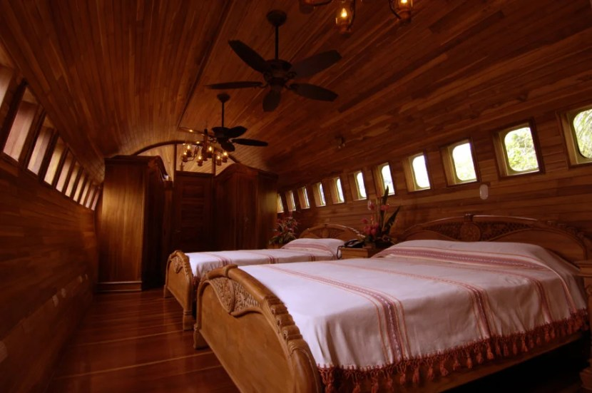 One of the two bedrooms in the plane suite.