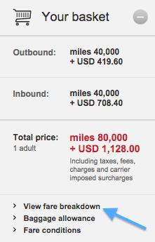 VS view fare breakdown