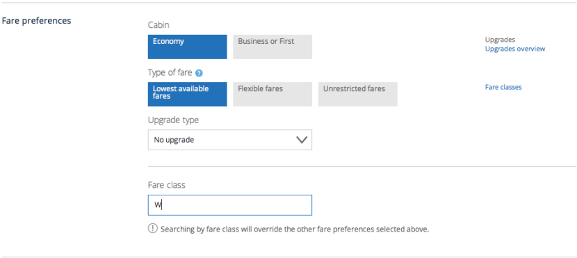 United advanced fare class