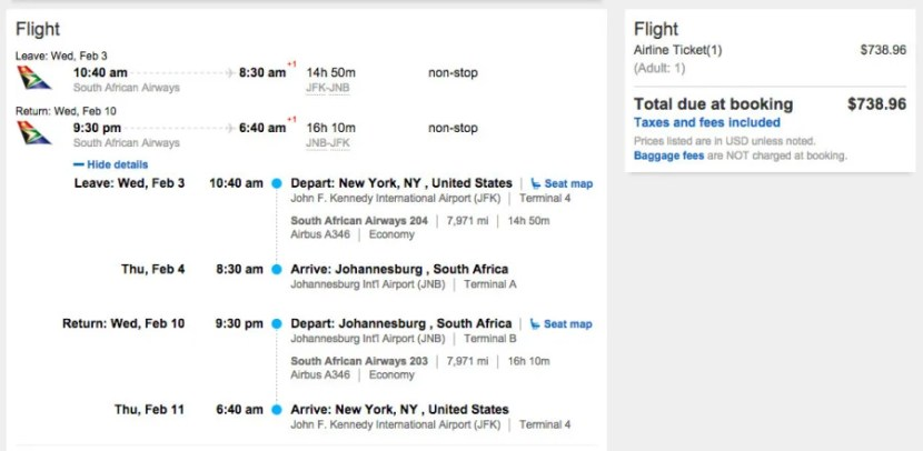 New York (JFK) to Johannesburg, South Africa (JNB) for $739 on South African.