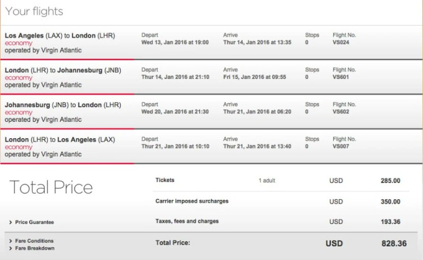 Los Angeles (LAX) to Johannesburg, South Africa (JNB) for $828 on Virgin Atlantic.