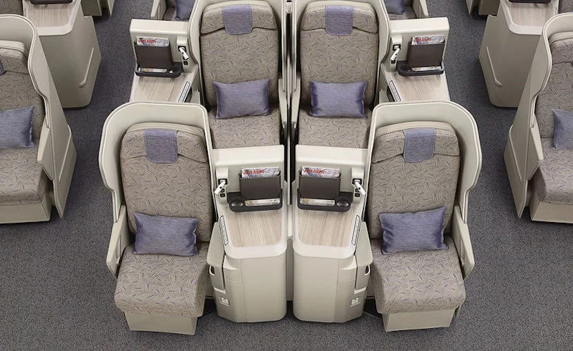Asiana's A380s have a staggered business-class seat layout that's popular with couples.